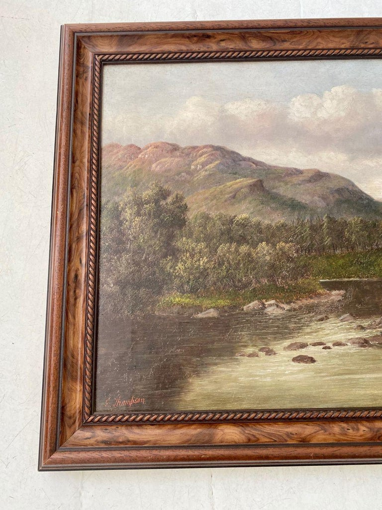 Antique Welsh River landscape with Fly Fisherman, by S. Thompson, 19th century, entitled