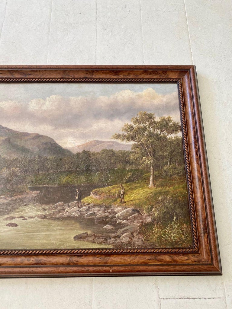 Folk Art Welsh River Landscape with Fly Fisherman, by S. Thompson, 19th Century For Sale