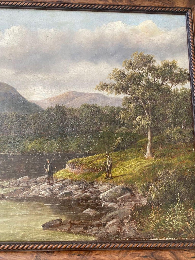 Hand-Painted Welsh River Landscape with Fly Fisherman, by S. Thompson, 19th Century For Sale