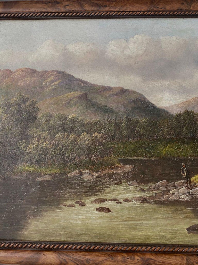 Welsh River Landscape with Fly Fisherman, by S. Thompson, 19th Century In Good Condition For Sale In Nantucket, MA