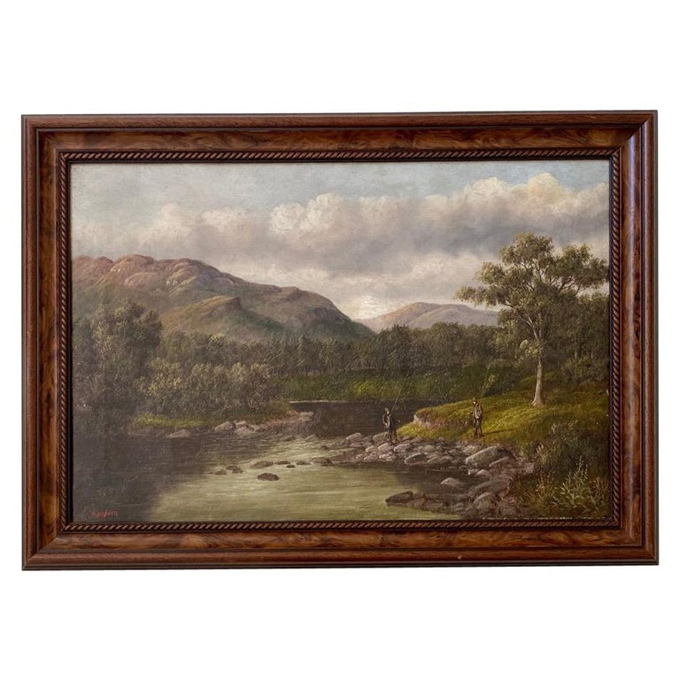 Welsh River Landscape with Fly Fisherman, by S. Thompson, 19th Century For Sale
