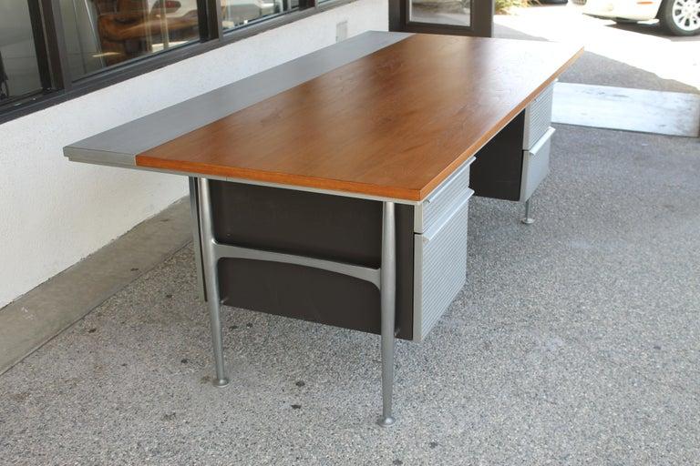 American Welton Becket Aluminum and Wood Desk for Kaiser Aluminum For Sale