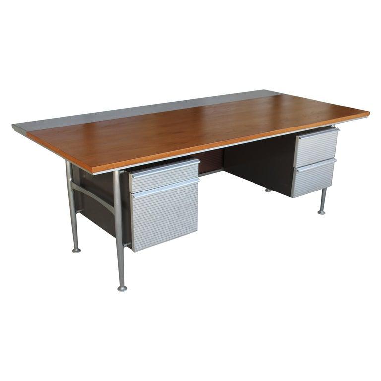 Welton Becket Aluminum and Wood Desk for Kaiser Aluminum For Sale