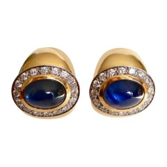 Wempe 18 Karat Yellow Gold and White Gold Earrings Set with Cabochon Sapphires