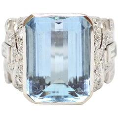 Wempe Aquamarine and Diamond 18 Carat White Gold Cocktail Ring