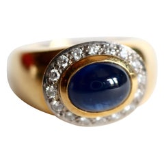 Wempe Ring in 18 Carat Yellow and White Gold Sapphire Cabochon and Diamonds