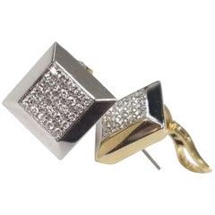 """WEMPE"" Signature Piece 18 Karat Yellow and White Gold Diamons Earrings"
