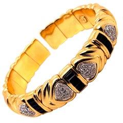Wempe Yellow Gold Sapphire and Diamond Cuff