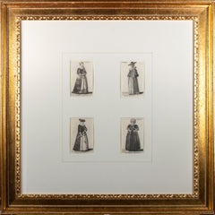 Four original etchings of women from 'Aula Veneris' series by Wenceslaus Hollar
