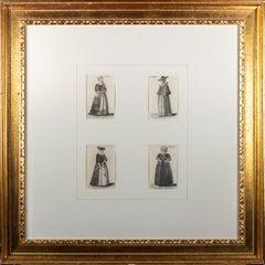 Four original etchings of women from 'Aula Veneris' series by Wenceslaus Hollar