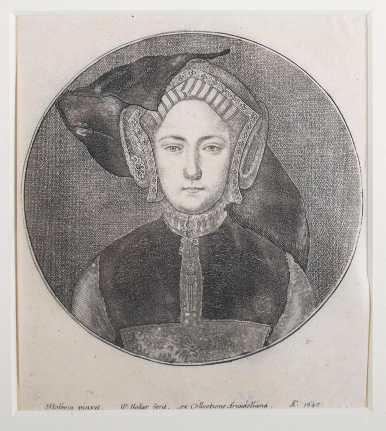 'Portrait of a Young Woman' original Hollar engraving after Hans Holbein - Print by Wenceslaus Hollar