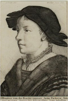 'Portrait of Henrico van der Borcht,' original W. Hollar engraving after Holbein