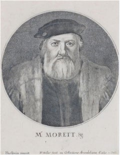 'Portrait of M. Morett,' original Wenceslaus Hollar engraving after Hans Holbein