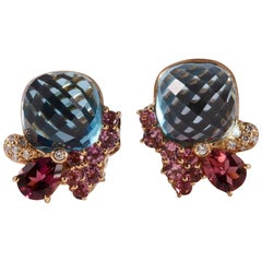 Wendee & Rene 18 Karat Blue Topaz Pink Tourmaline and Diamonds Ear Clip