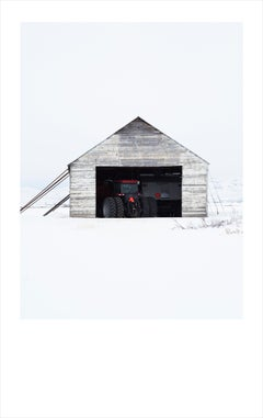 White Barn I- color photograph of agricultural building in Idaho framed
