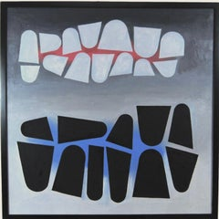 Hard edge modernist oil painting by Northwest artist Wendell Brazeau