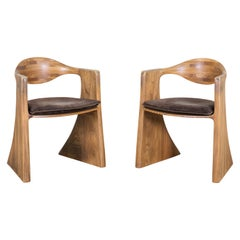 Wendell Castle, Pair of Armchairs, Walnut, 1978
