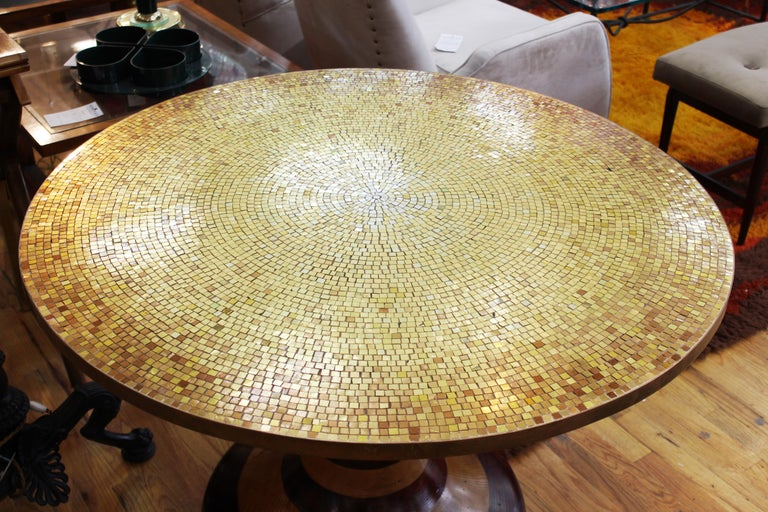 Wendell Castle style Mid-Century Modern center table or dining table with carved wood base and circular gold mosaic top. The piece is in great vintage condition with age-appropriate wear and use.