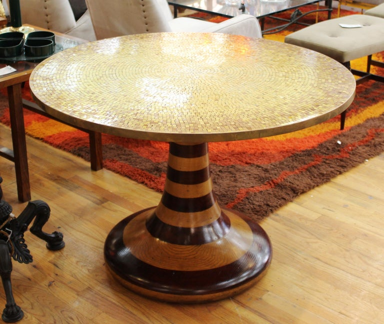 20th Century Wendell Castle Style Mid-Century Modern Center Table with Gold Mosaic Top For Sale