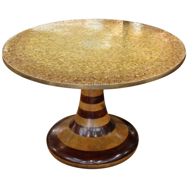 Wendell Castle Style Mid-Century Modern Center Table with Gold Mosaic Top For Sale