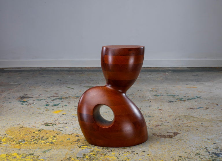 Contemporary Wendell Castle, Wide Awake, Leopardwood, Red-Brown, Side Table, 2011