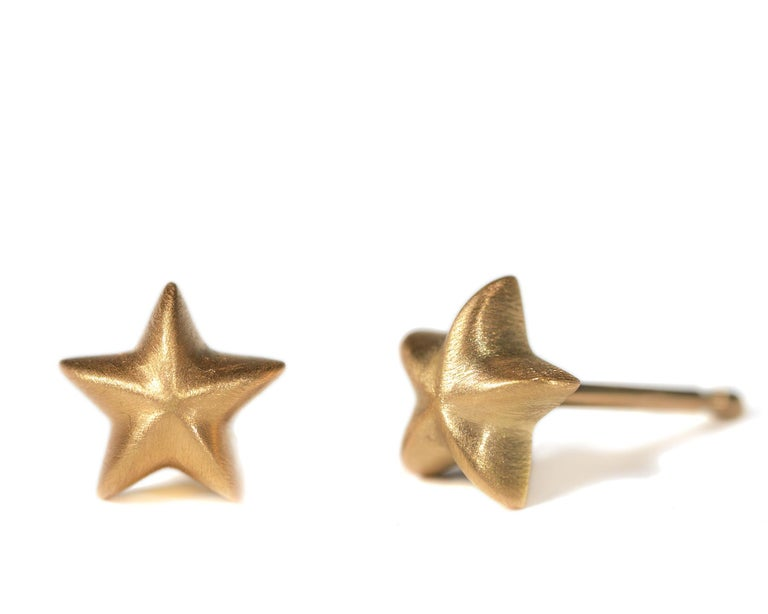 Chunky little star studs are perfect for everyday wear.  18K yellow gold with satin finish. Made in New York City