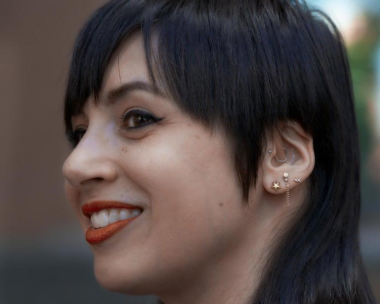 Women's or Men's Wendy Brandes 18K Yellow Gold Star Stud Earrings For Sale