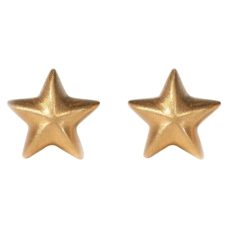 Wendy Brandes 18K Yellow Gold Star Stud Earrings For Sale