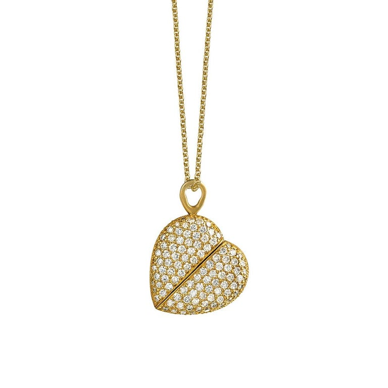 Wendy Brandes 2-in-1 Mechanical Twisting Heart Oval Gold 1+ TCW Diamond Necklace For Sale