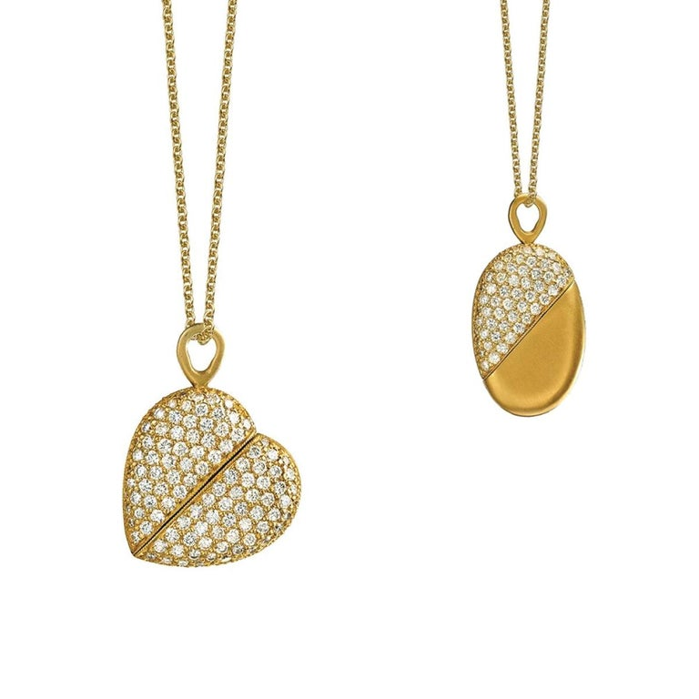 Wendy Brandes 2-in-1 Yellow Gold and Diamond Heart Necklace For Sale
