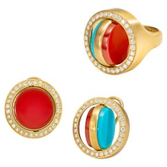 Wendy Brandes 2-in-1 Turquoise and Carnelian Swivel Ring, Earrings 18K Gold Set
