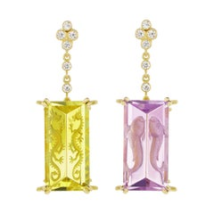 Wendy Brandes Amethyst and Citrine Yellow Gold Dangle Earrings with Diamonds