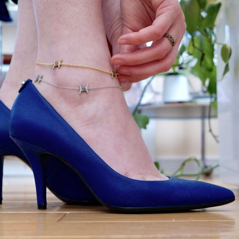 Wendy Brandes Barbed Wire Diamond and Platinum Ankle Bracelet/Anklet In New Condition For Sale In New York, NY
