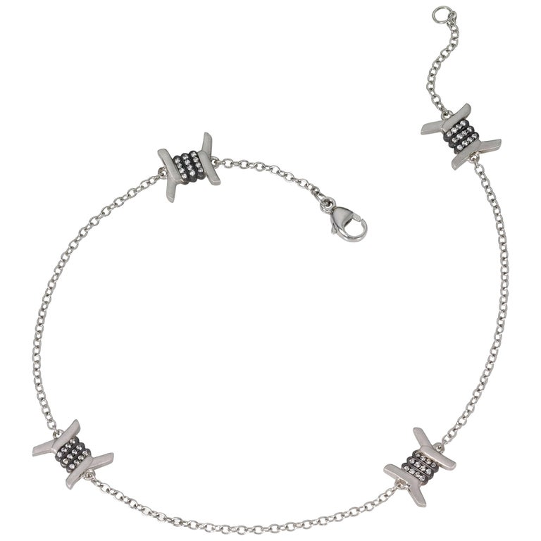 Wendy Brandes Barbed Wire Diamond and Platinum Ankle Bracelet/Anklet For Sale
