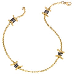 Wendy Brandes Barbed Wire Diamond and Yellow Gold Ankle Bracelet/Anklet