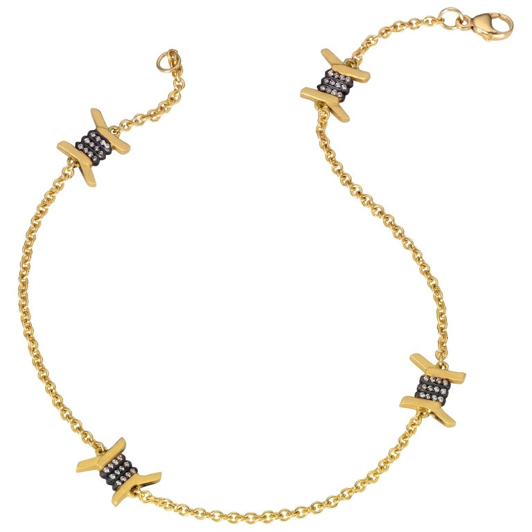 Wendy Brandes Barbed Wire Diamond and Yellow Gold Ankle Bracelet/Anklet For Sale