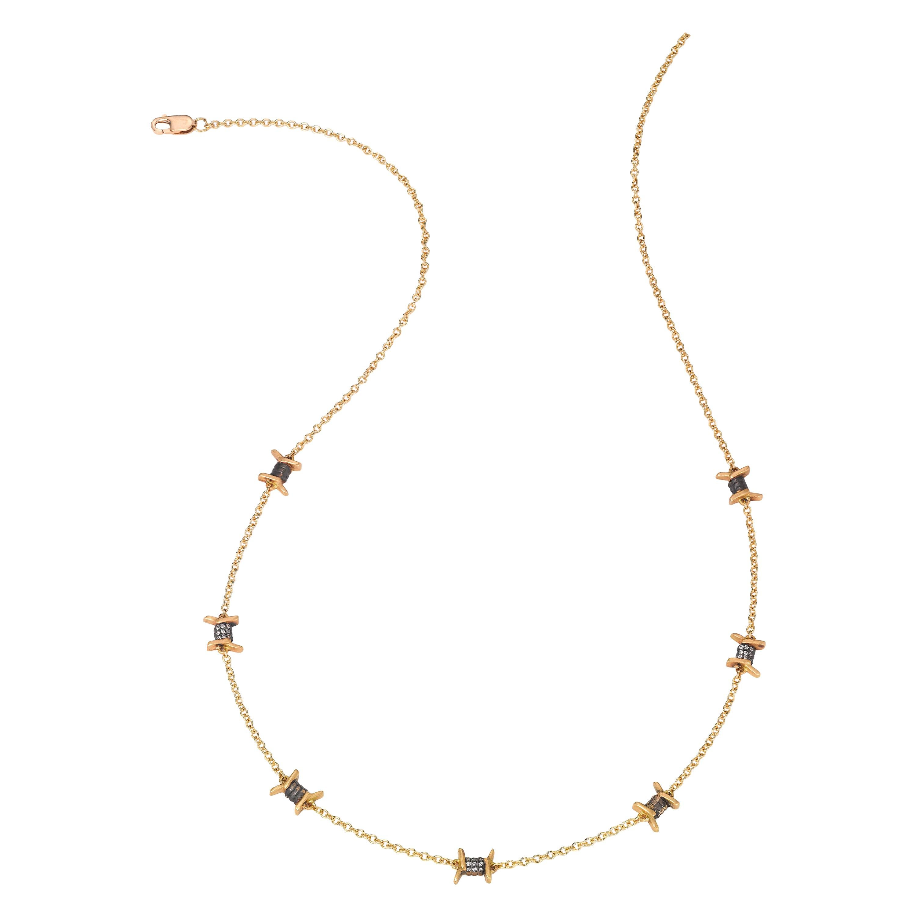 Wendy Brandes Barbed Wire Diamond and Yellow Gold Punk Necklace