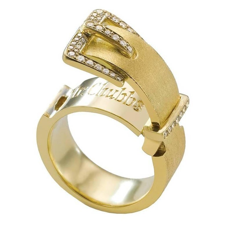 Wendy Brandes Buckle Locket Diamond and Gold Ring