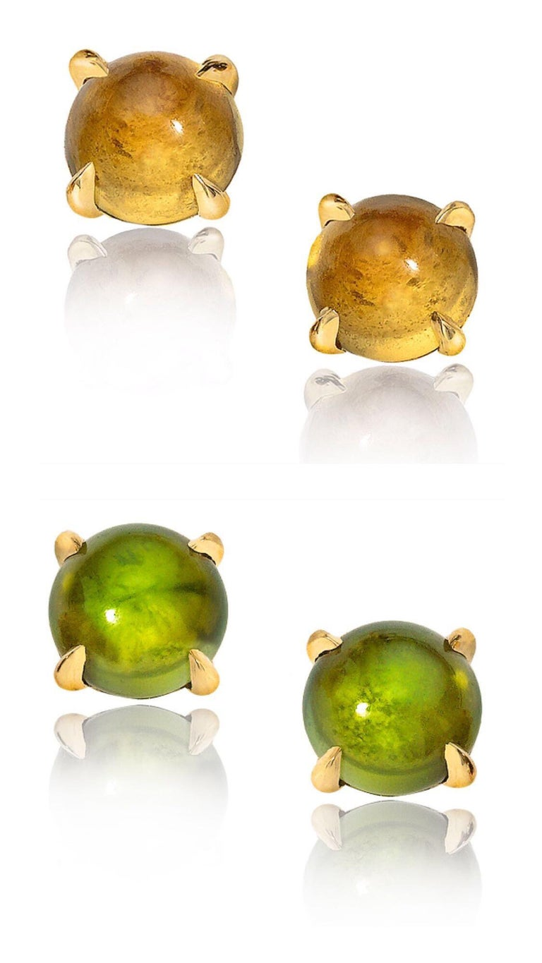 18K yellow gold. 6 mm cabochon tourmalines x 2. 6 mm cabochon citrines x 2. Price is for two pairs. Made in New York City.  Perfect suite of earrings that you can switch up with your outfits!