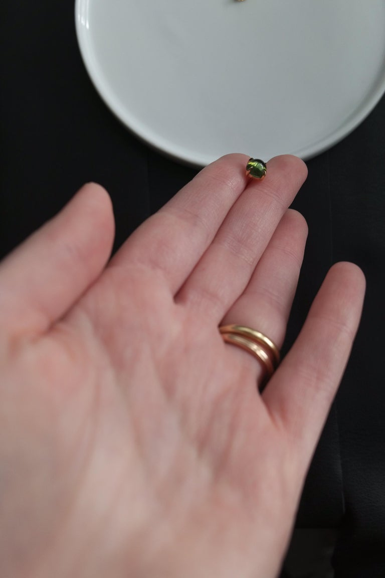 Wendy Brandes Cabochon Birthstone Studs With Tourmaline and Citrine - 2 Pairs For Sale 2