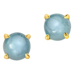Wendy Brandes Cabochon March Birthstone Gemstone Aquamarine Earring Studs Pair