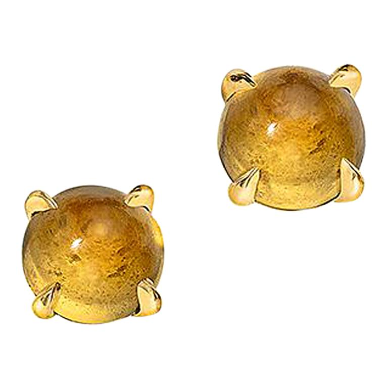 Wendy Brandes Cabochon Citrine Stud Birthstone Earrings in 18K Yellow Gold