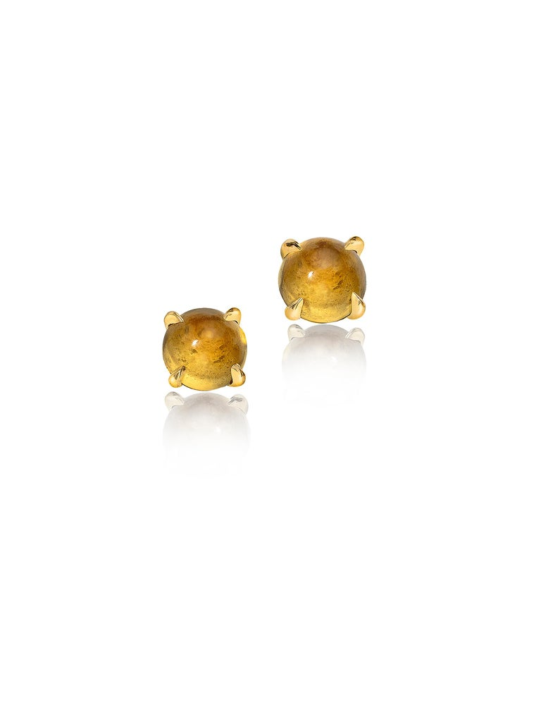 Cat ear jacket is easily detachable and studs can be worn on their own. 6 mm cabochon studs set in 18K yellow gold. Cat earring jacket is 18K yellow gold, satin finish. Other birthstones available upon request. Made in New York City.  Wendy Brandes
