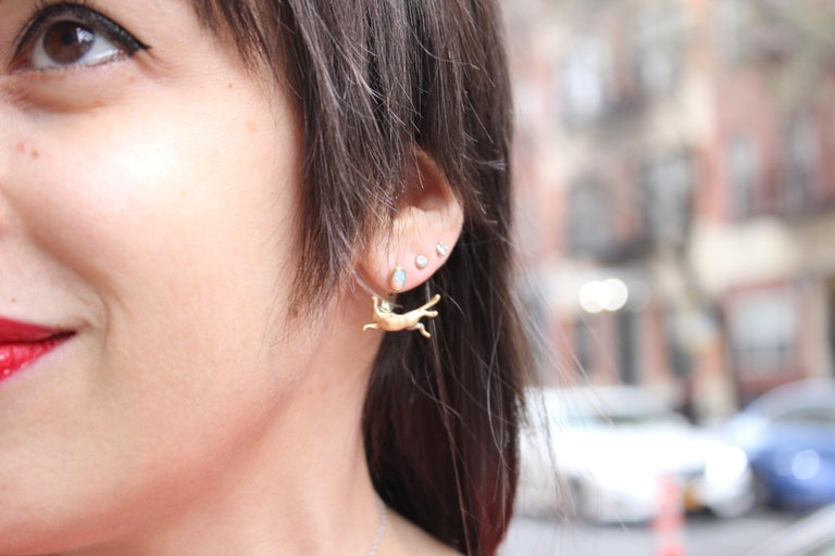 Wendy Brandes Cat Animal Ear Cabochon Birthstone Citrine Earring Studs Jackets In New Condition For Sale In New York, NY