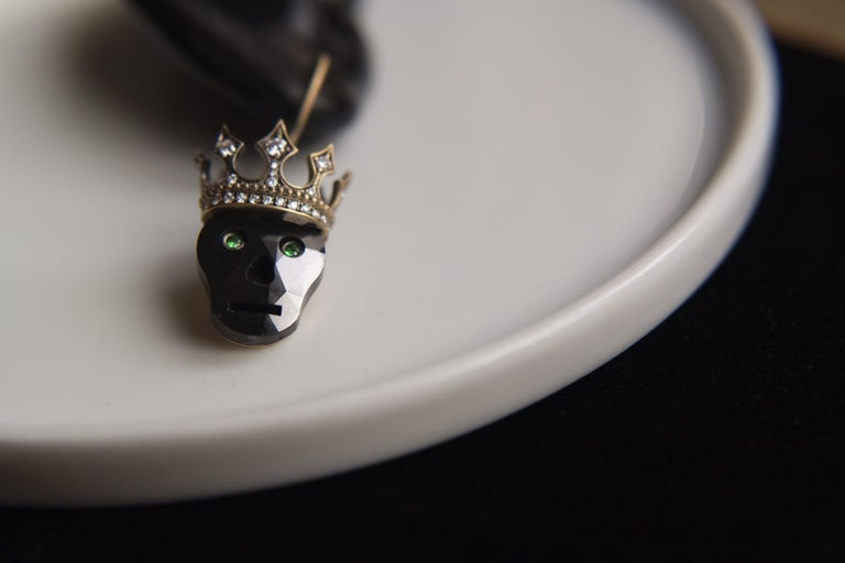 Contemporary Wendy Brandes Memento Mori Black Diamond Skull Earrings With Crowns For Sale