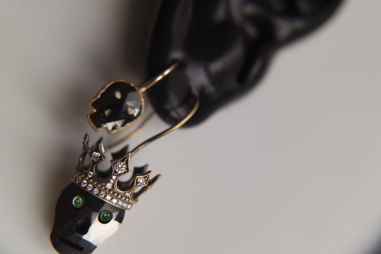 Round Cut Wendy Brandes Memento Mori Black Diamond Skull Earrings With Crowns For Sale