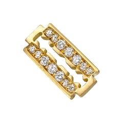 Wendy Brandes Edgy Razor Blade Pave 18K Yellow Gold Diamond Stud Earring, Single