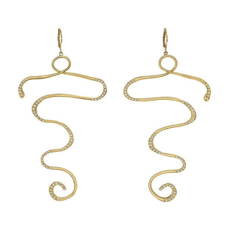 Round Cut Wendy Brandes Egyptian Inspired Snake Like Gold and 1.36 Carat Diamond Earrings For Sale