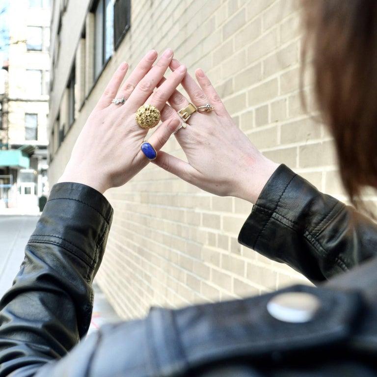 Oval Cut Wendy Brandes Nefertiti-Inspired Lapis Lazuli Poison Ring For Sale