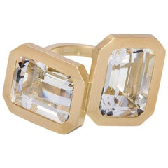 Wendy Brandes Emerald Cut Double Rock Crystal Gold Statement Stacking Ring